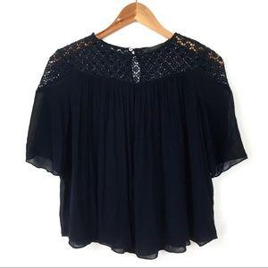 Zara Trafaluc | Crochet Lace Yoke Blouse